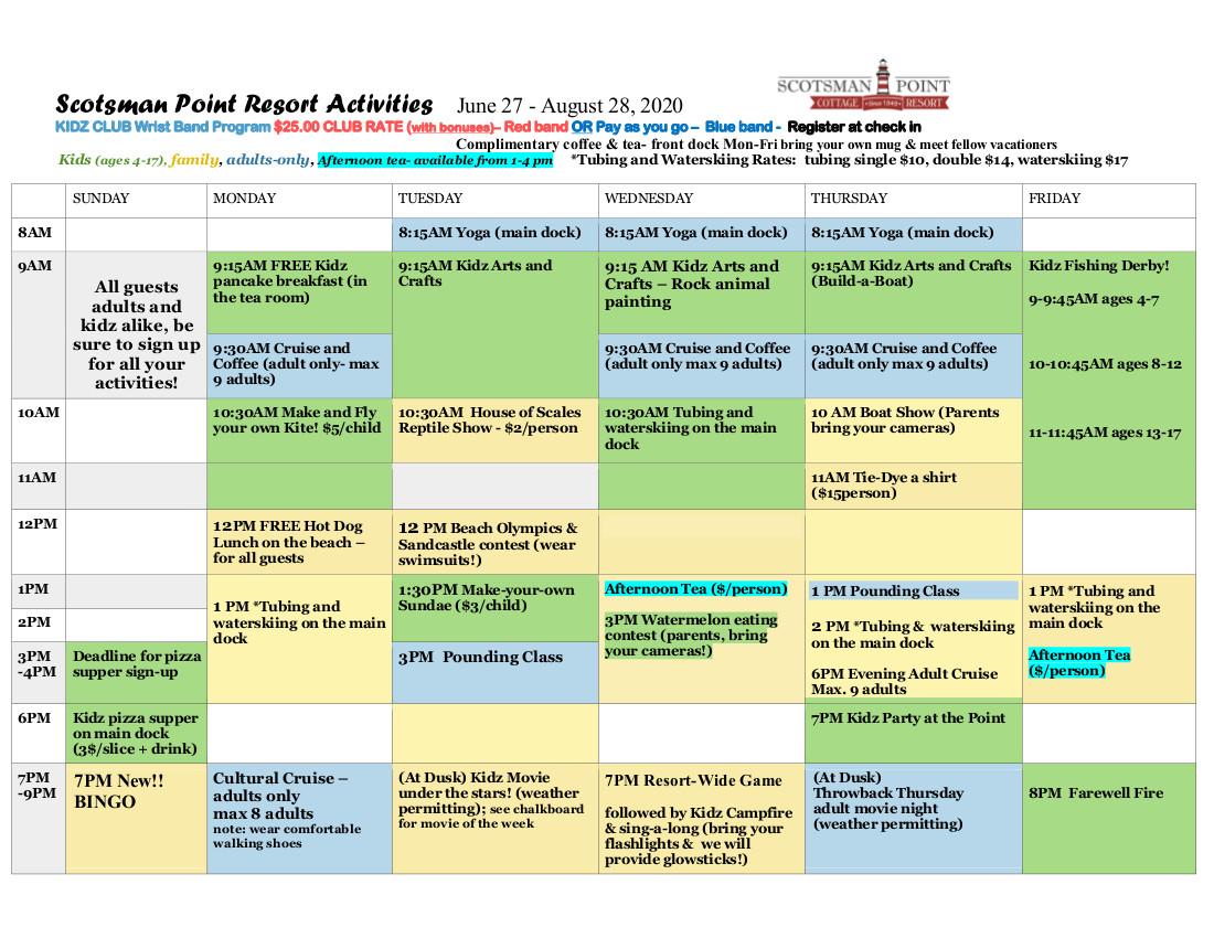 Scotsman's Point Activities Program Schedule New Format 2020